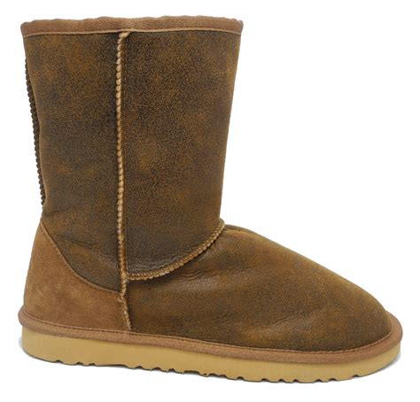 mens sheep skin boots mens real sheepskin suede leather boots chestnut brown