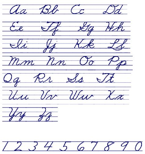 printable alphabet handwriting chart cursive handwriting chart free download