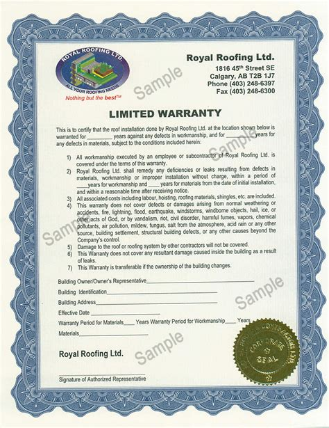 Calgary Roof Inspections Royal Roofing Ltd Royal Roofing Roofing Labor Warranty Template
