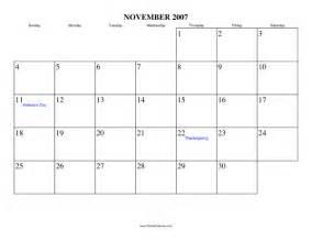thanksgiving 2007 calendar november 2007 calendar