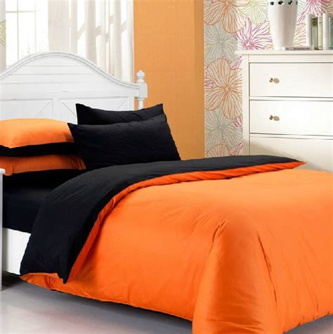 orange and black comforter set hot sale fashion 4pcs 100 cotton solid black and orange