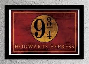Harry potter hogwarts express platform 9 3 4 sign typography