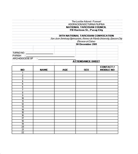 meeting attendance list template attendance lists templates sles and templates