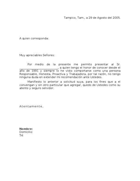 carta de recomendacion laboral destinatario carta de recomendaci 243 n personal