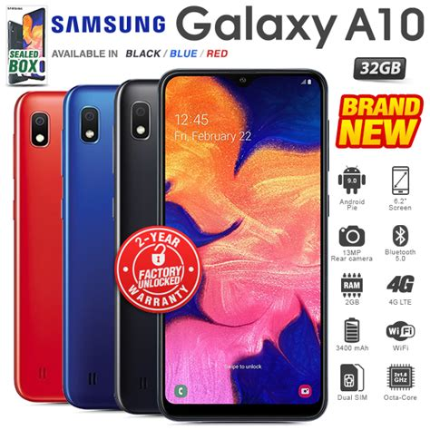 new factory unlocked samsung galaxy a10 black blue 2gb 32gb android phone ebay