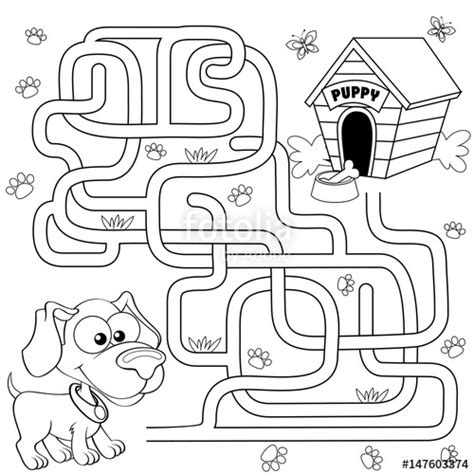 """Help puppy find path to his house. Labyrinth. Maze game"