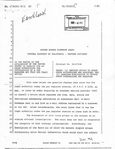 This Is An Order From The Court To Send Up The Records On A For Review Court Order On Carnivore Installation C D Cal Feb 4 2000