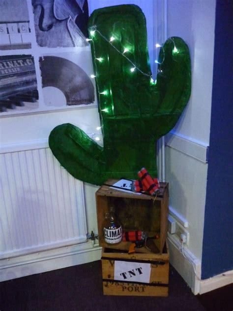 foot cardboard cactus decoration  crates decorated