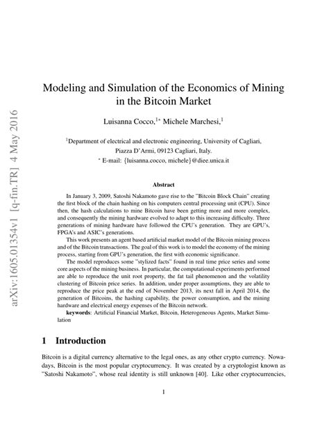 (PDF) Modeling and Simulation of the Economics of Mining