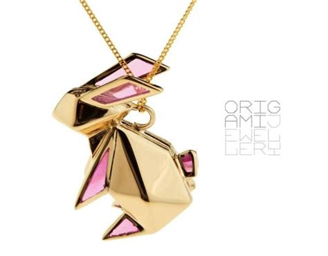 origami jewellery origami rabbit necklace by origami jewellery