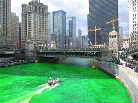 s day house by water chicago river dyed green