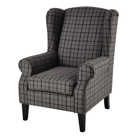 check armchair wool armchair in grey check scotland maisons du monde