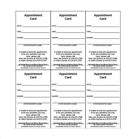 9 Sle Appointment Cards Sle Templates Appointment Card Template