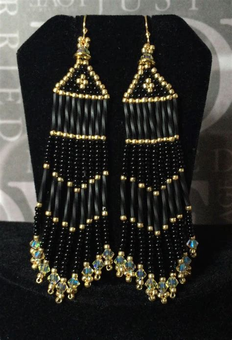 black bead earrings gold seed bead fringe earrings black and gold beaded