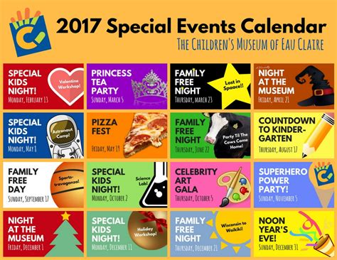 Calendar Events 2017 Special Events At The Children S Museum Of Eau Wi