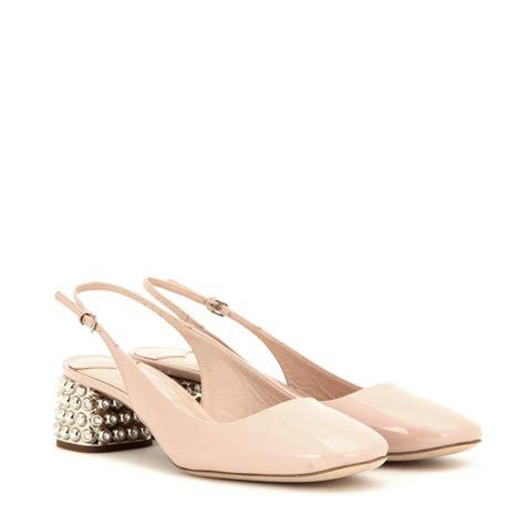 Miu Miu by Lyst Miu Miu Vernice Shoes In Pink