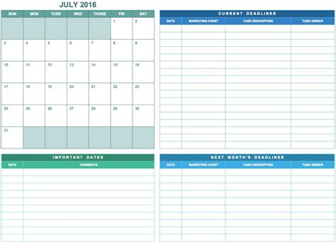 9 Free Marketing Calendar Templates For Excel Smartsheet Calendar Planner Template