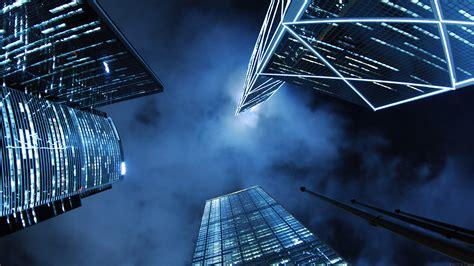 mn buildings blue night city sky papersco