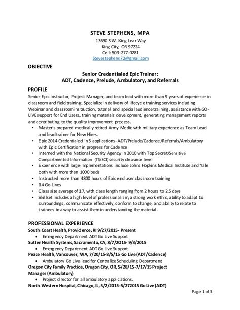 Epic Trainer Cover Letter steve stephens epic go live and credentialed trainer resume