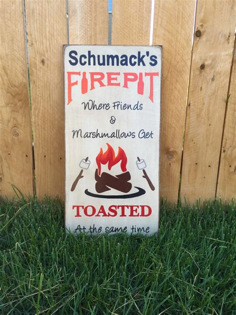 Firepit Signs Free Shipping Personalized Pit Sign Primitive Firepit