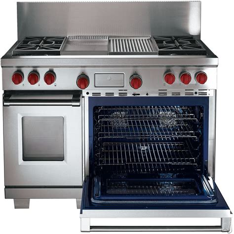 wolf gas range wolf df484cg 48 quot pro style dual fuel range with 4 dual stacked sealed burners 4 5 cu ft dual