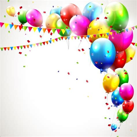 happy birthday corner design birthday balloons background with confetti and corner flag