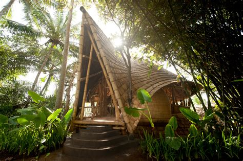 bamboo houses bamboo houses shape ibuku s green village community in indonesia