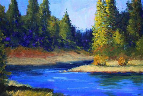 Landscape Pictures By Artists Oregon River Landscape Painting By Nancy Merkle
