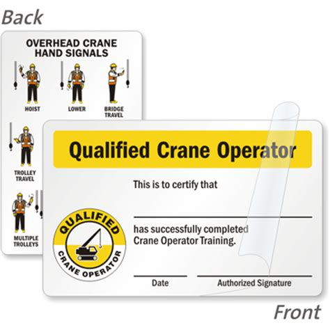 equipment operator certification card template qualified crane operator certification wallet card 2