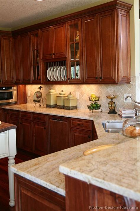 cherry cabinets with light counters kitchen pinterest traditional medium wood cherry kitchen cabinets 40
