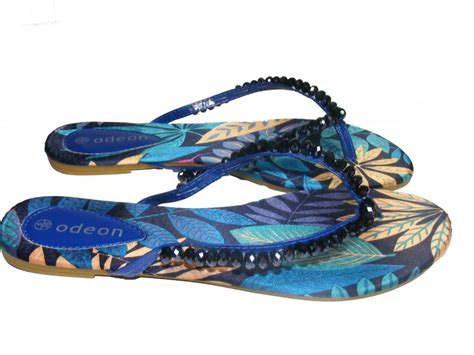 odeon sandals stunning purple blue bronze beaded gem odeon flip