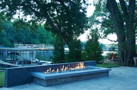 linear pit gas pit ideas patio modern with pit linear