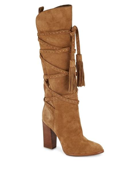 michael kors jessa suede knee high boots in brown camel