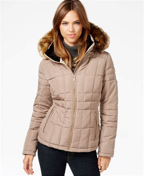 Calvin Klein Hooded Faux Fur Trim Quilted Puffer Coat by Calvin Klein Faux Fur Trim Water Resistant Quilted Puffer