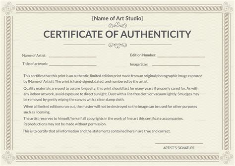 certificates of authenticity templates printable authenticity certificate design template in psd