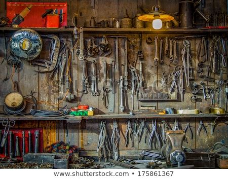 vintage tools hanging   wall   tool shed  workshop