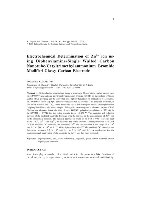 Ings Co2 Solution electrochemical determination of zn 2 ion us ing diphenylamine single pdf available