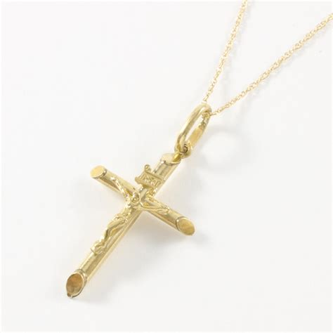 solid 10k yellow gold cross necklace property room