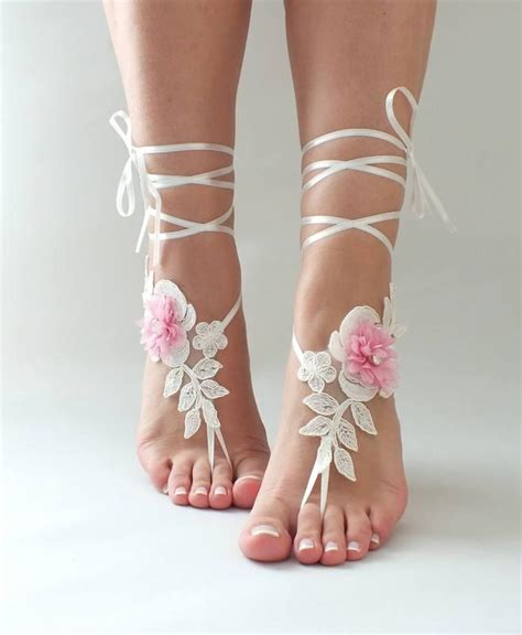 wedding barefoot sandals ivory pink lace barefoot sandals wedding shoes wedding