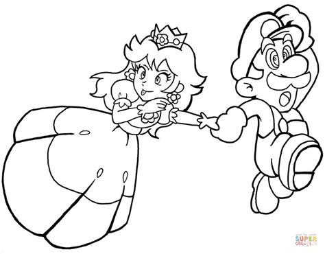 mario coloring pages princess princess with mario coloring page free printable