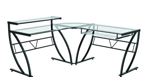 Glass L by Glass Computer Desk Z Line Belaire Glass L Shaped