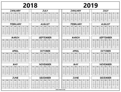 printable calendar 2018 black and white print 2018 and 2019 calendar template with year holidays