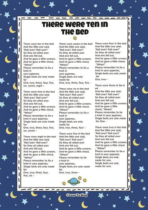 ten in the bed lyrics there were ten in the bed kids video song with free