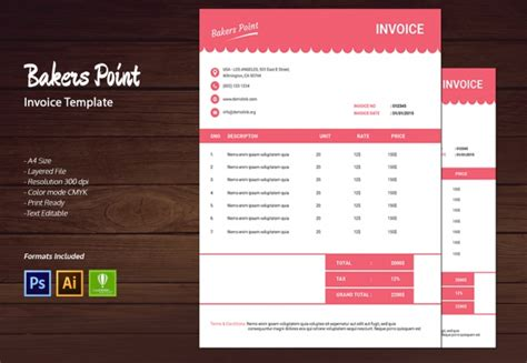 16 Bakery Templates Psd Eps Cdr Format Download Free Premium Templates Baking Invoice Template