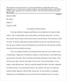 Essay About High School by Persuasive Essay Exle 8 Sles In Word Pdf