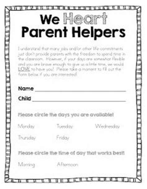 Parent Helper Letter 1000 Ideas About Parent Volunteer Form On