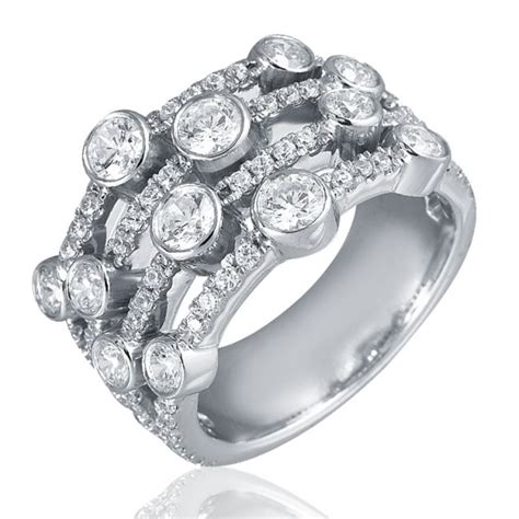 1 60ct f i1 ring with four rows of bezel set
