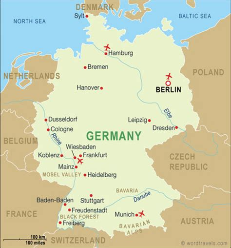 Germany On The Map by Germany Map Germany Travel Maps From Word Travels