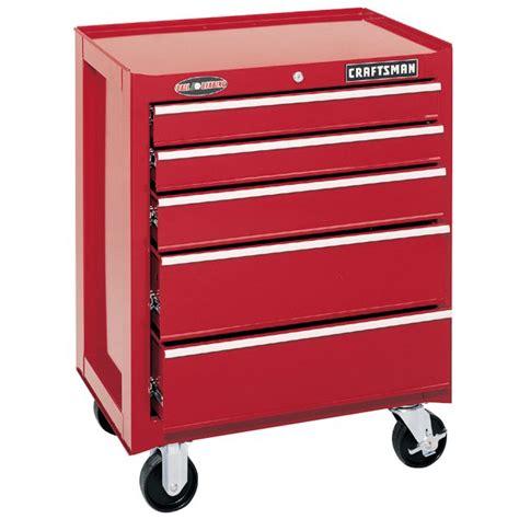 craftsman 5 drawer tool box sears craftsman 26 in 5 drawer ball bearing roll away red