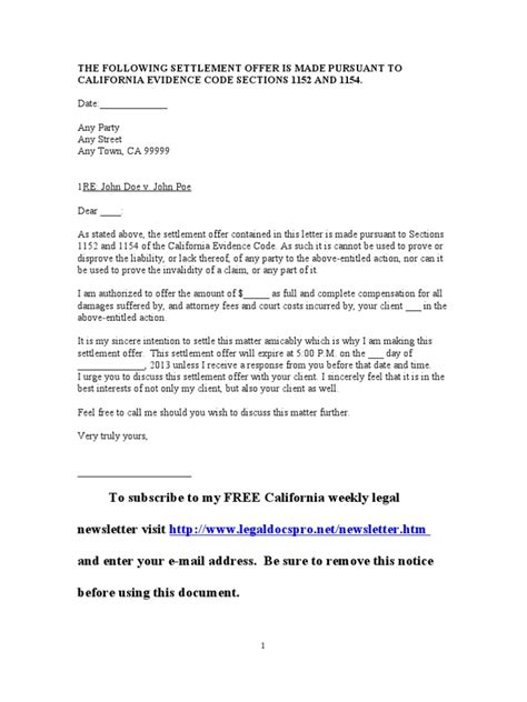 and settlement offer letter template sle california settlement offer letter